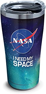 Tervis 1328965 NASA - I Need My Space Stainless Steel Insulated Tumbler with Clear and Black Hammer Lid, 20oz, Silver