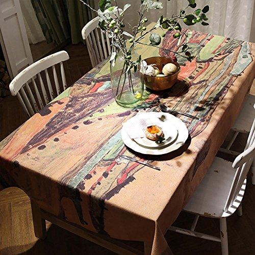 Toile en lin rectangulaire en lin vintage pour table à manger familiale Décoration intérieure , 140*140cm