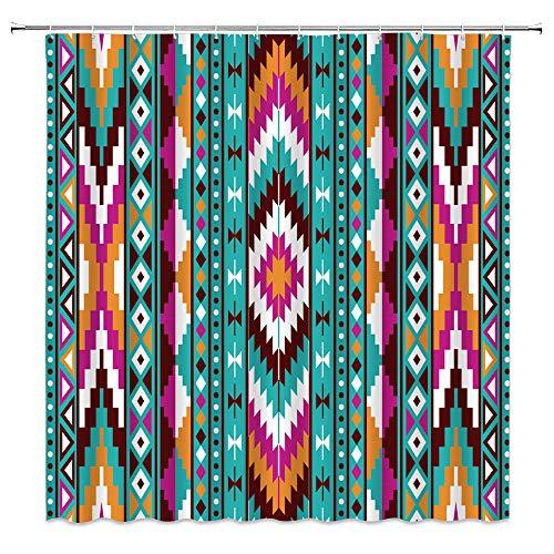 Indianer Duschvorhang Retro Azteken abstrakt geometrisch Tribal Navajo Aztec Ethno Southwestern Stoff Badezimmer Dekor Vorhang mit 12 Haken, 180 x 180 cm, Blaugrün