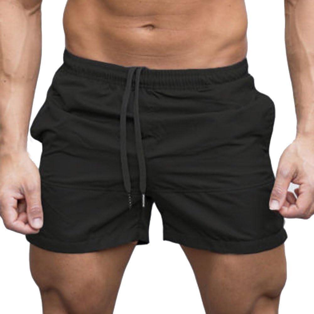 RAISINGTOP Men Gym Sports Athletic Joggers Elastic Waist Shorts Above Knee Strings Pants Trousers Drawstring Casual