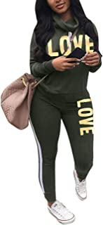 Angsuttc Women's Letter Print 2 Piece Outfits Cowl Neck Long Sleeve Sweatshirt and Pants Set Tracksuit