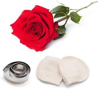 AK ART KITCHENWARE Fondant Rose Veining Molds and Stainless Steel Fondant Cutter Set for Decorating Cakes Silicone Veiner Sugarpaste Making Tool A348&VM057
