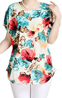 Women Casual Floral Short Sleeve Loose Blouse T Shirt