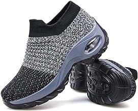 Metyere Chaussures de marche pour femme en maille respirante confortables à plateforme compensée, polyuréthane, gri