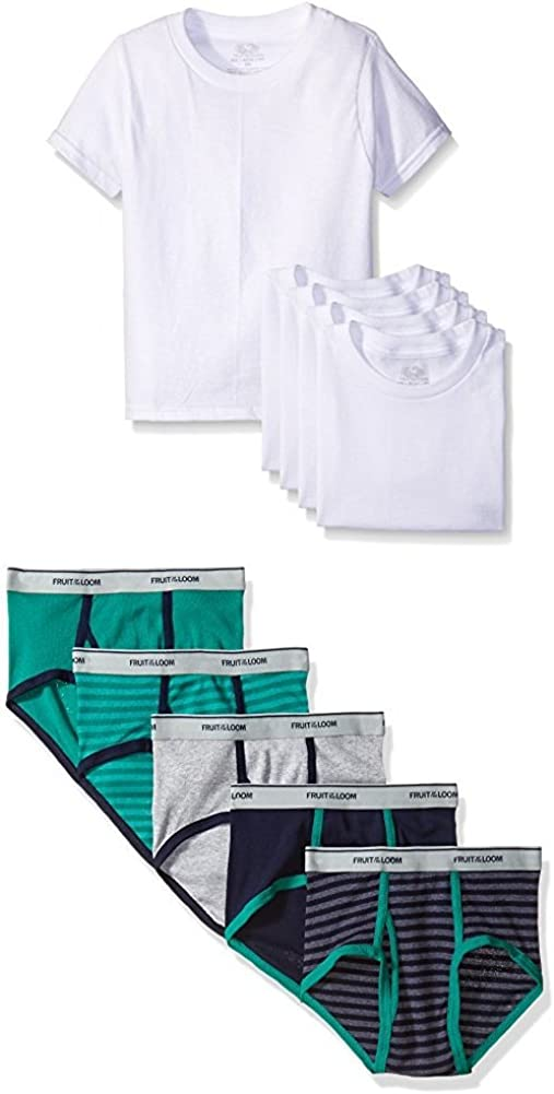 Fruit of the Loom Boys' 10-Piece White Crew Tee and Brief set