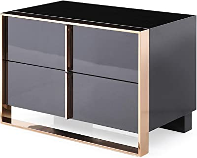 Limari Home Howard Collection Modern Brushed Bronze Stainless Steel Metal Bedroom Storage Nightstand with 2 Drawers, Black, Gold