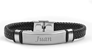 JUAN Name Bracelet - Personalised Mens Double Leather Braided Engraved Bracelet. Including Gift Box
