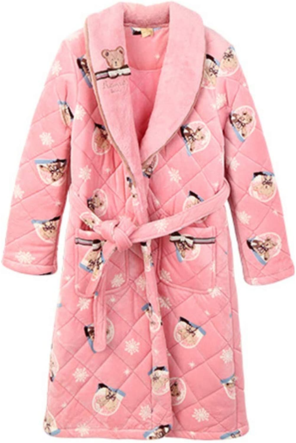 NAN Liang Ladies' Luxury Soft Warm Dressing Gown Bathrobe with Hood Pink Sweet Home Dress (Size   M)
