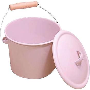 ホーローふた付きバケツ:ピンク