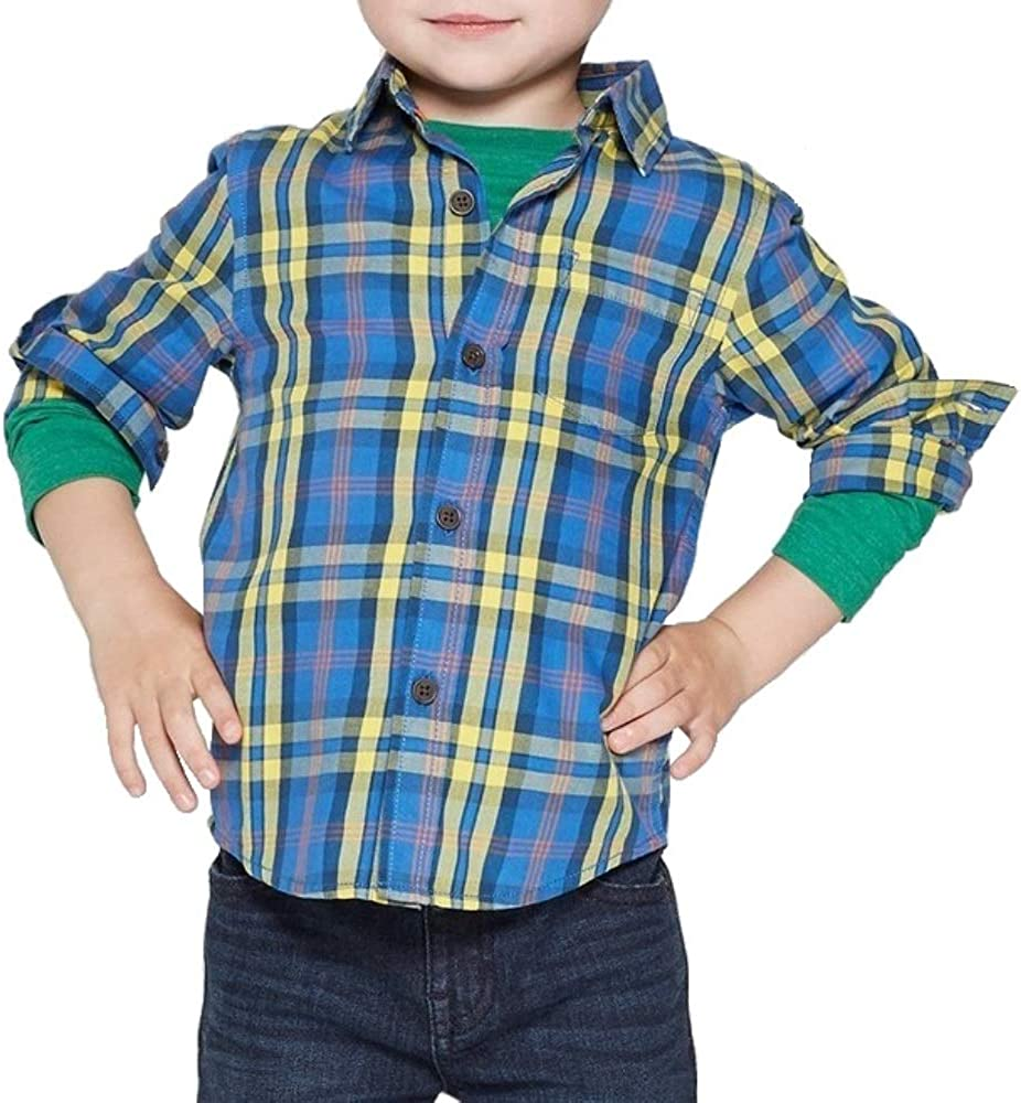Cat Jack Baby Boys' Button Down Yellow Sleeve Blue Long Super specialty shop intense SALE Shirt