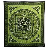 indischerbasar.de Tagesdecke Om Mandala grün Baumwolle Wandbehang Dekoration
