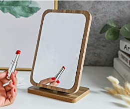 Table Stand up Makeup Wood Frame Mirror Compact Portable Folding Travel Mirror Vanity Rustic Finish Large Tabletop Mirror for Dresser Bedroom Bathroom Office Decorative Countertop Adjustable Angle