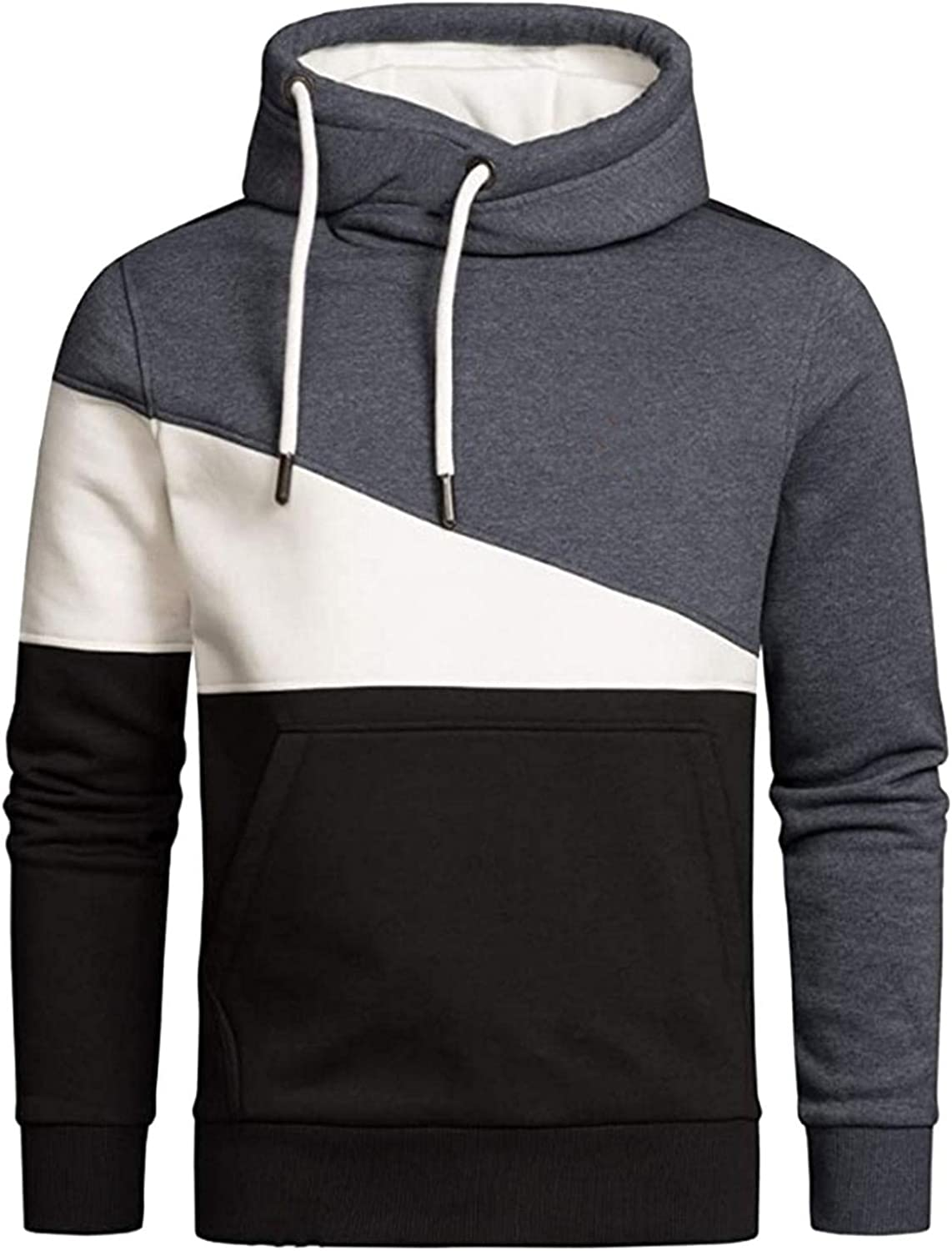 Hoodies for Men Mens Casual Dark Color Matching Long Sleeve Fashion Tether Pullover Top Windproof Fashion Hoodies Sweatshirt