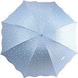 Toim Flora - Paraguas de Viaje con Estampado de Flores, Plegable y antirayos UV, Resistente al Sol y a la Lluvia, Lake Blue