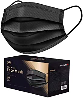 BYD CARE 3-Ply Black Color Single-use Face Mask, Box of 50 PCs