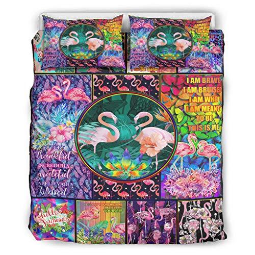 Twelve constellations Juego de cama con diseño de flamencos multicolor y flores suaves para todo el año, 3 piezas, para niños, color blanco, 168 x 229 cm