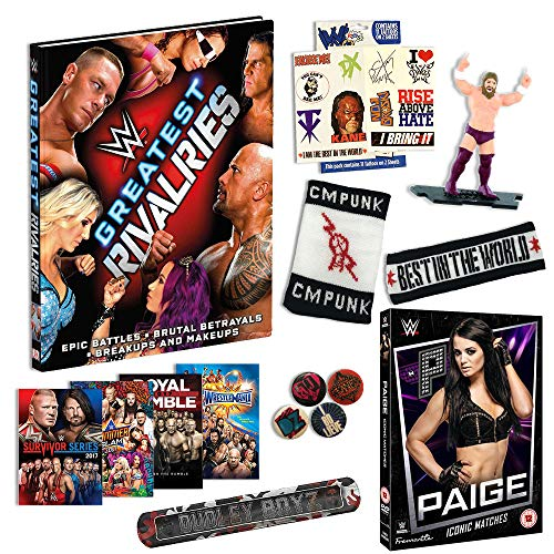 WWE Kids Gift Set - Includes Over 15 items [Stickers, Paige DVD, Tattoos, Sweatband Set, Hardback Wrestling Book and more]