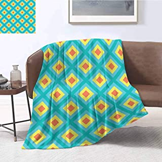 Luoiaax Yellow and Blue Rugged or Durable Camping Blanket Pattern with Nested Squares Geometric Retro Rhombus Mosaic Warm and Washable W70 x L90 Inch Teal Turquoise Dark Orange