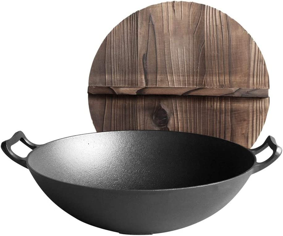 Zjyfyfyf Wok with Lid Seasonal Wrap Introduction San Diego Mall Non-Stick Iron Cookware Kitchen o Pan Home