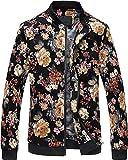 Men Vintage Floral Print Slim Fit Zipper Front Bomber Jacket, JK995 Black, X-Large = Tag 6XL