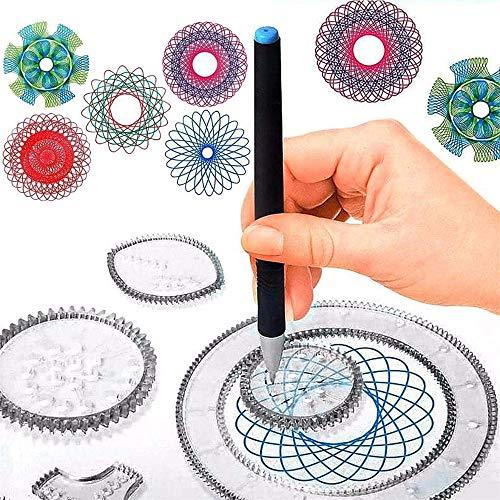 22 Pezzi Spirografo Geometrico Righello Spirografo Originale Design Set Geometrico Disegno Righello Bambini Spirale Artigianato Creazione Istruzione Disegno Set di cancelleria (1 Set)