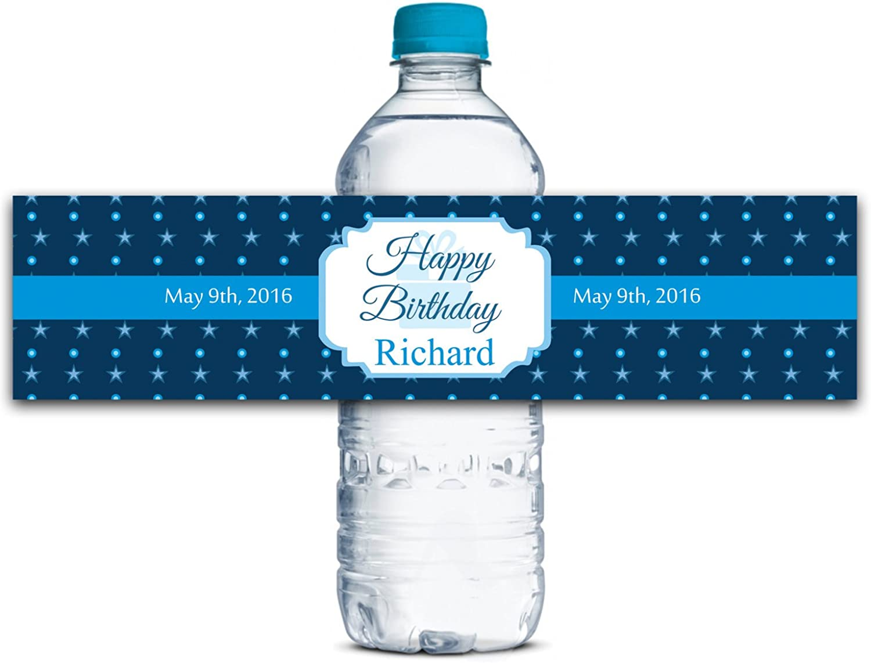 Personalisierte Wasserflasche Etiketten Selbstklebende wasserdichte Kundenspezifische Kundenspezifische Kundenspezifische Geburtstags-Aufkleber 8  x 2  Zoll - 50 Etiketten B01A0W2G3Q  | Viele Stile  b0c4a8