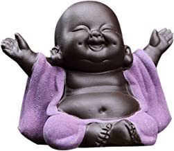 Prettyia Little Cute Ceramic Laughing Maitreya Happy Buddha Statue Figurine Ornaments, Looks Vividly and Lovely - F