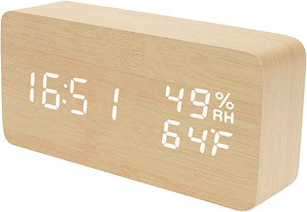Raercodia Alarm Clock Wooden Digital Clock Modern Decorative Electronic LED Desk Clock Display Time Date Temperature Humidity 3 Alarms Brightness Adjustable For Home Office Bedroom Beige White