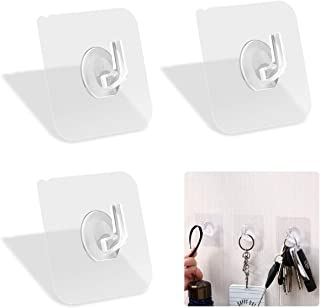 Laigoo 12 Pack Adhesive Wall Hooks, Clear Self Adhesive Hooks Transparent Sticky Towel Hook Wall Hangers for Office/Kitche...