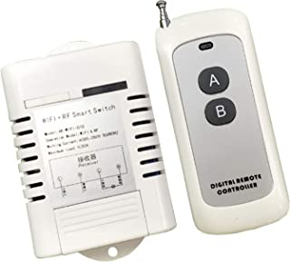 UHPPOTE WiFi RF Single Channel Remote Control Smart Switch Receiver with Transmitter High Power 30A