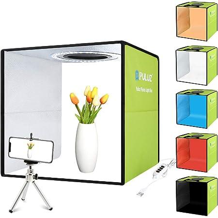 【30cm】PULUZ 簡易スタジオ シンプルな撮影ボックス 円形led搭載 折りたたみ式撮影キット 持ち運びが便利 シューティングボックス テーブル撮影 物撮り 自宅撮影 ぶつどり 卓上撮影 光度10レベル調整可能 組立簡単 6色背景色(赤/緑/オレンジ/青/白/黒)付き スタジオ+リングライト CE認証 撮影ブース 写真スタジオ(緑)