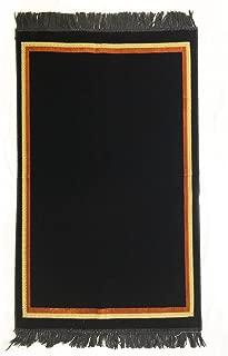 Al Arabia Plain Prayer Rug Turkish Islamic Plush Velvet Janamaz Prayer Mat - Plain Rectangle Design Black