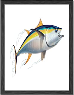 BCWAYGOD Yellowfin Tuna Realistically Illustrated with Shadows and Water Details on Fins Earth Yellow Blue Framed Art Print Wall Art A3 16x12in