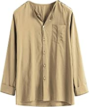 Holzkary Mens Big & Tall Solid Color Long Sleeve Tops Loose Comfy Workwear Button Down Shirt with Pocket