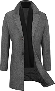 Mens Trench Coat Wool Blend Top Pea Coat Winter Long Single Breasted Overcoat