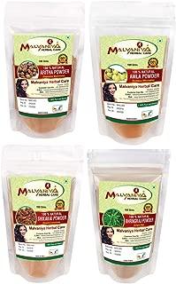 Herbal Amla Powder 100G, Bhringraj Powder 100G, Shikakai Powder 100G, Aritha Powder 100G - 1 Complete Hair Care Combo Pack