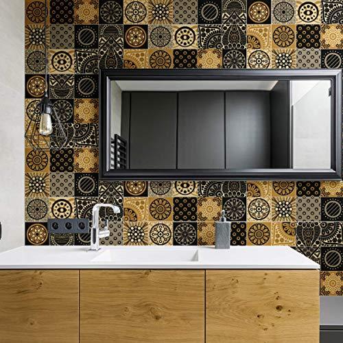 Tegelstickers | zelfklevende cementtegels - mozaïek tegels wandtegels badkamer en keuken | cementtegels zelfklevend | Azulejos 20 x 20 cm – 15 stuks