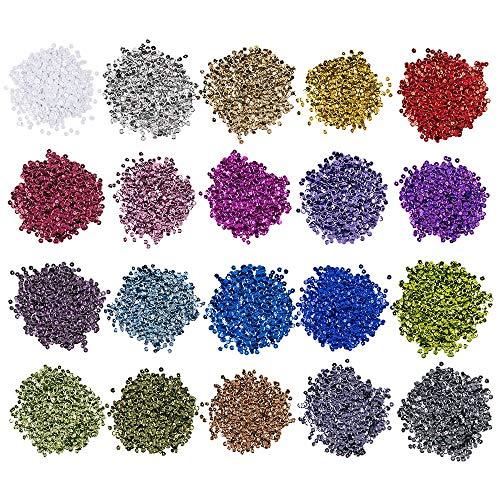 Pailletten-Set, metallic, 20 Farben im 15g Beutel | Pailletten zum aufnähen, aufkleben, auffädeln | Nähen, Kunst, DIY, Schmuck basteln (Ø 8mm - 14000 Stück)