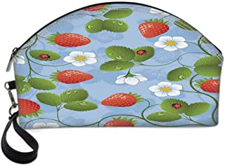 Ladybugs Beautiful Women's semi circular cosmetic bag,Strawberries Daisies and Ladybugs Looks Like Ivy Plant Spotted Insects Image For traveling,10.8