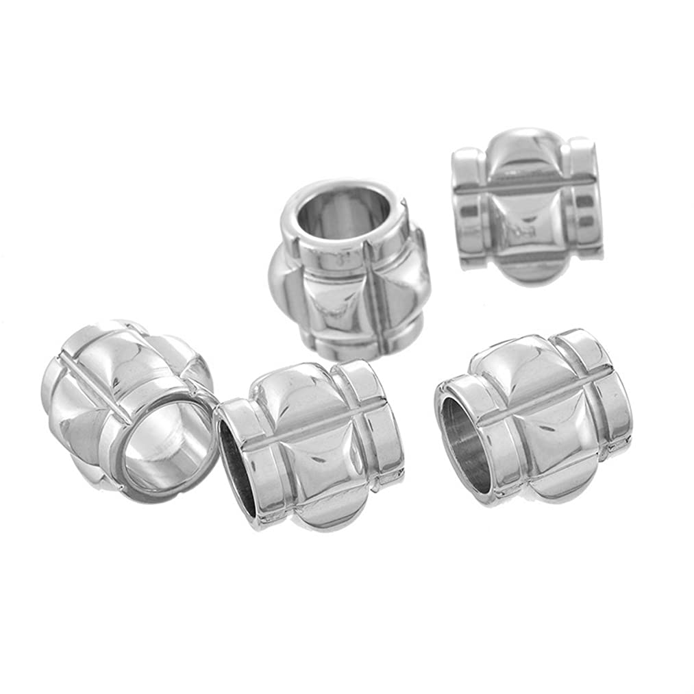 VALYRIA 10pcs Stainless Steel Irregular Cylinder Spacer Beads Findings for DIY Bracelet 12x10mm