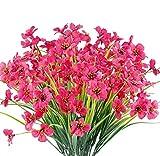 Chenguo 4 paquetes de flores artificiales para exteriores, resistentes a los rayos UV, no se decoloran, plantas de plástico sintético, jardín, hogar, boda, decoración de granja