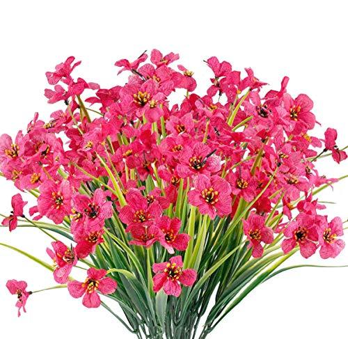 Chenguo 4 paquetes de flores artificiales para exteriores, resistentes a los rayos UV, no se decoloran, plantas de plástico sintético, decoración de jardín, hogar, boda, granja, color rojo