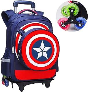 MODRYER Los Estudiantes de los niños Bolsa de superhéroe Capitán América Mochila Escolar Carro con Ruedas Desmontable Equipaje Primaria Paquete Mochila para Muchacha Muchacho,Dark Blue