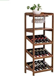 Estantería de vino ZCJB Estante De Vino De Bambú con Portavasos, Soporte De Suelo para Vino para La Bodega De Kitchen Restaurant, 15 Botellas (Color : Wood Cup Holder)