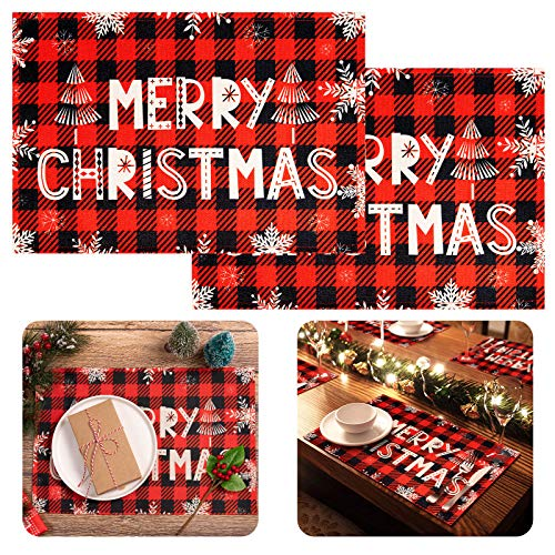 Whaline Christmas Plaid Snowflake Placemat Red Black Buffalo Check Table Mat Waterproof Heat Resistant Burlap Table Placemats for Home Kitchen Dining Christmas Holiday Decor, 6 Pack, 16.7' x 11.2'