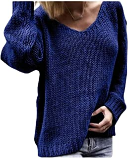 Macondoo Women's Loose Knitted V-Neck Long Sleeve Pullover Jumper Sweaters