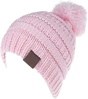 Toddler Winter Hats, Baby Kids Toddler Cable Knit Winter Beanie Hat with Pom Pom