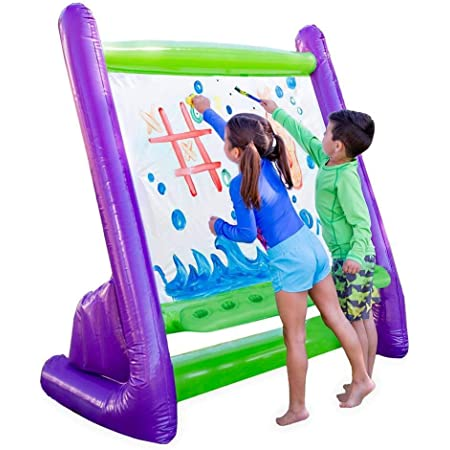 """HearthSong Giant Inflatable Indoor and Outdoor Easel with Paints, Sponges, Brushes, and Built-in Art Tray, 62"""" L x 38"""" W x 61H, Easy Clean"""
