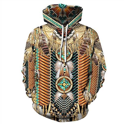 TLZD Herren Indian Style Jacke 3D Digitaldruck Männer und Frauen Paar Hoodie Hoodie Herren Jacke Lose Hoodie Dame Sport Pullover Kordelzug Hohe Kapuze Känguru Tasche Paar Pullover S-4XL
