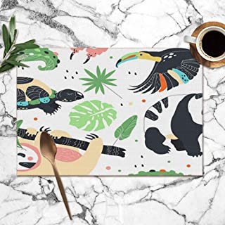 X-Large Placemats Set of 6,Exotic Zoo Animals Heat-Resistant Placemats Washable Table Mats for Kitchen Dining Table 12X18 Inch